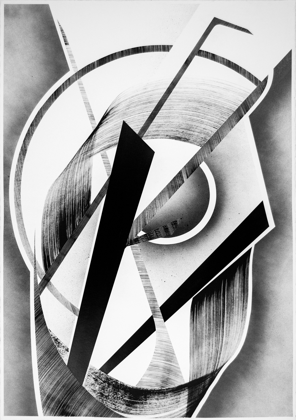 "44"" x 30""  Acrylic, Ink, & Aerosol on Paper  2016"