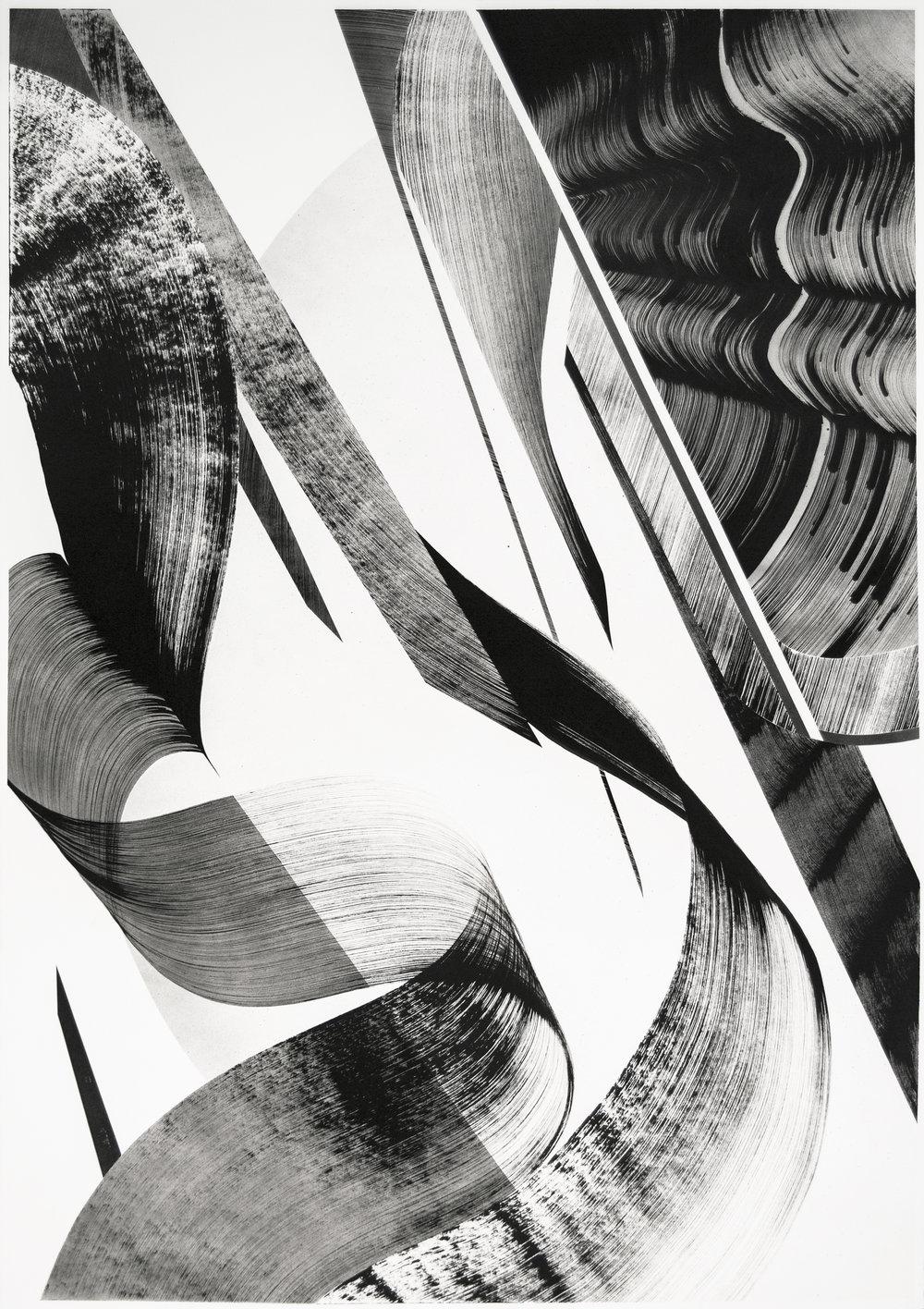 "44"" x 30""  Acrylic, Ink, & Aerosol on Paper  2015"