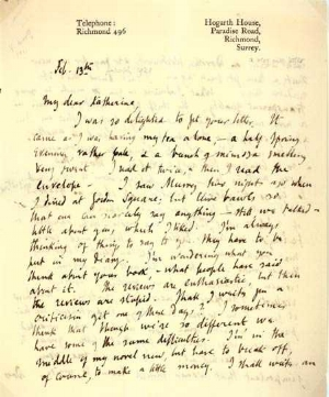 Woolf letter to Mansfield, 13 February 1921