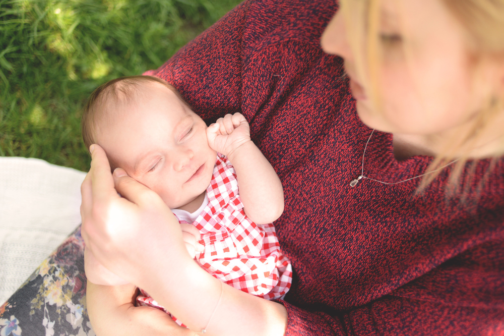Amelie and her new born baby girl Poppy during their shooting in London.
