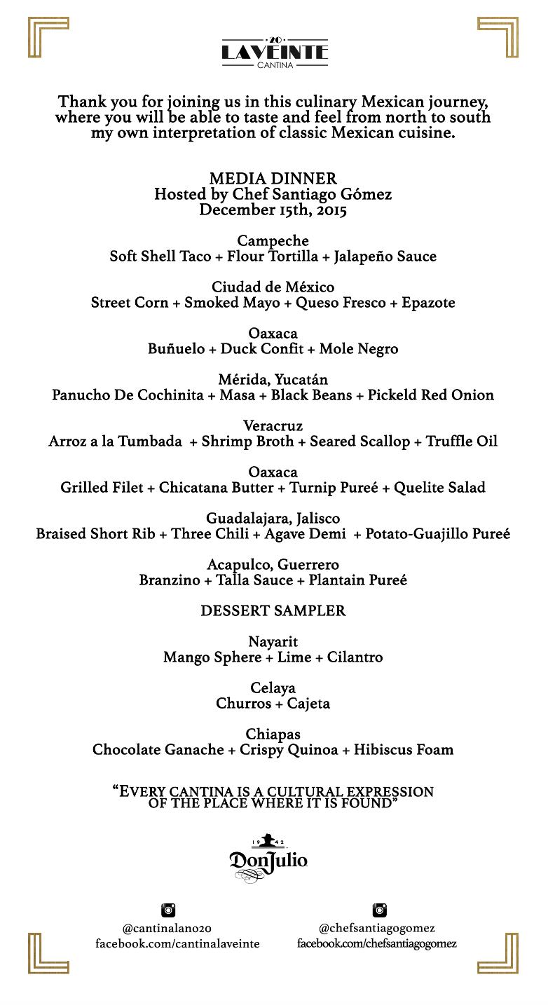 Front of media dinner menu