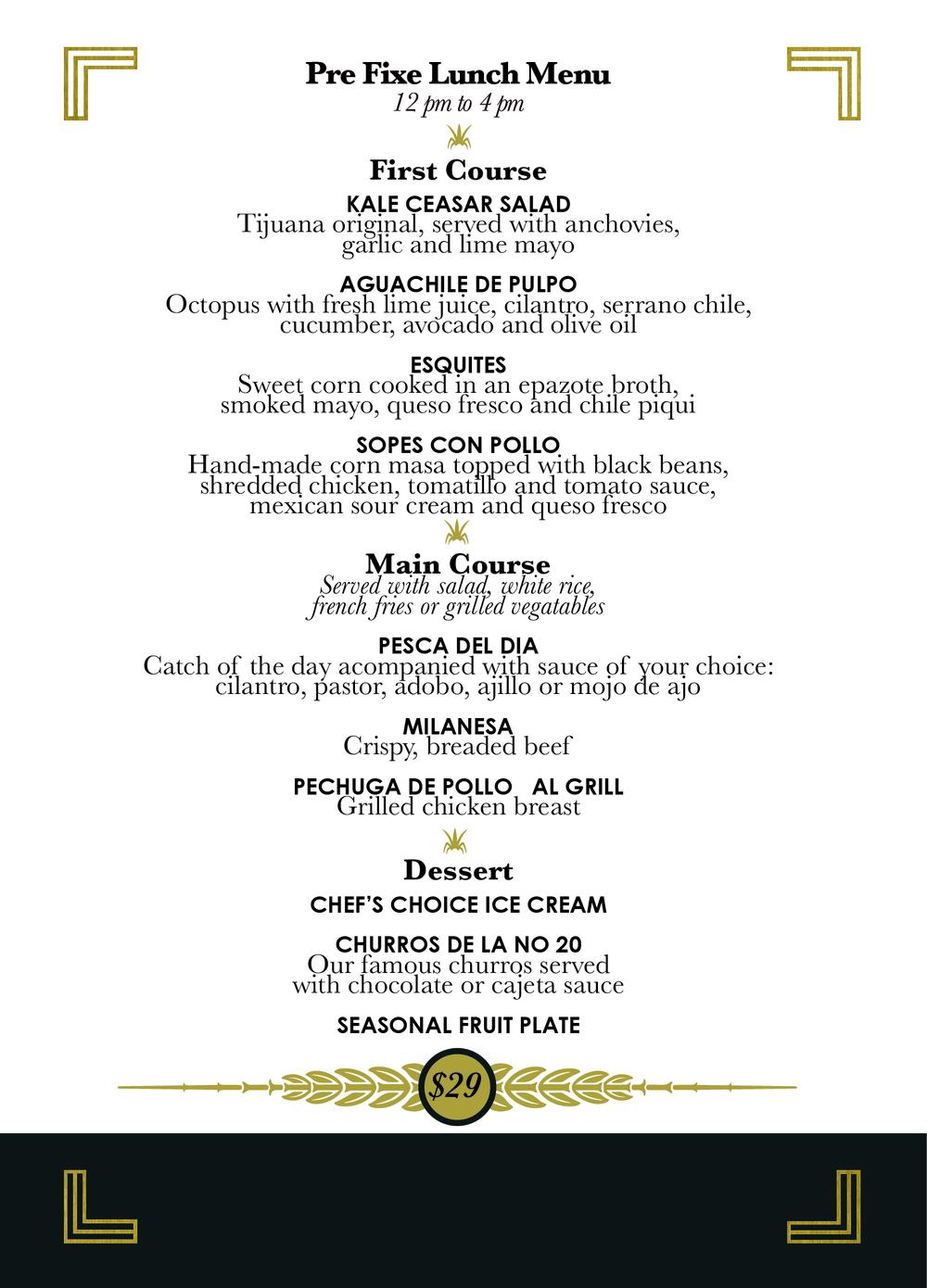 la-veinte-pre-fixe-menu