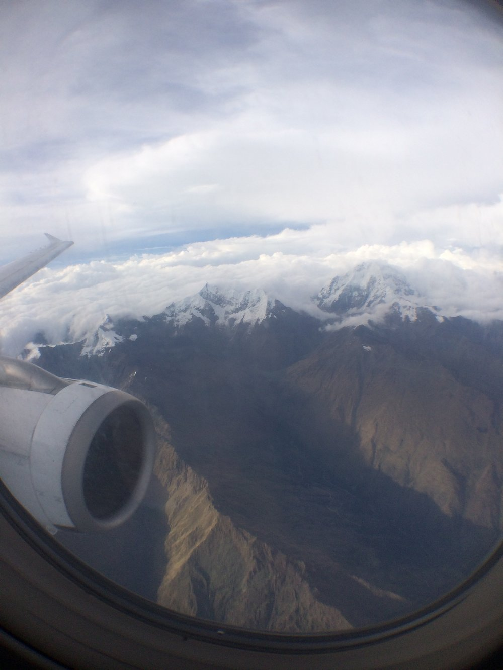 I took a connecting flight from Lima to Cuzco; there are a lot of frequent flights, given Machu Picchu is such a tourist destination. Scary view!