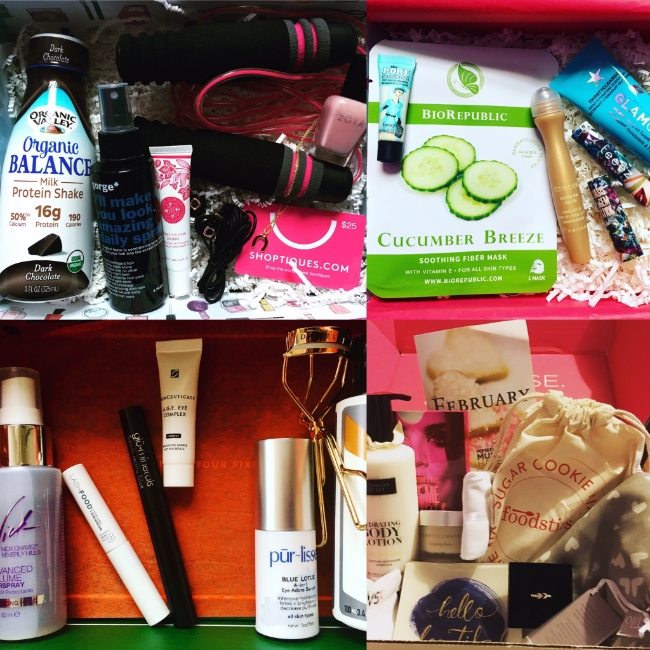 Top left:  FabFitFun; Top right:  Glossybox; Bottom right:  PopSugar Must Have; Bottom left:  DermStore BeautyFix