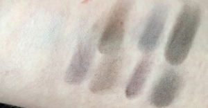 Maybelline The Rock Nudes palette, swatched left to right, top row on top. The lighter colors aren't really visible.