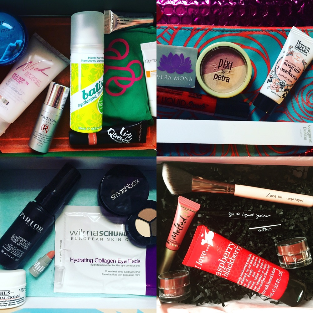 Top left: DermStore BeautyFix; top right:  ipsy; bottom left:  Birchbox; bottom right: Glossybox