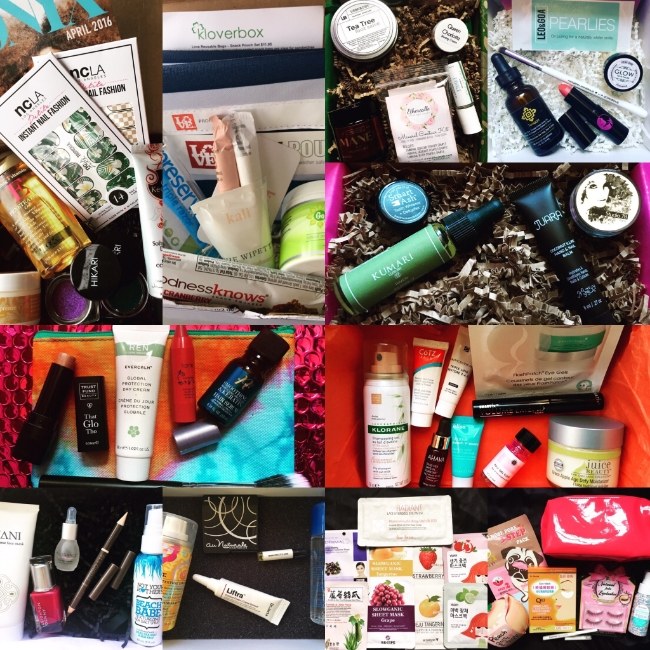 Top row, left to right: ONYXBox, Kloverbox, Terra Bella Box, LaRitzy Box. Second row: Petit Vour. Third row, left to right: ipsy, DermStore BeautyFix. Bottom row, left to right: Glossybox, Birchbox, Beauteque Mask Maven, Beauteque BB Bag.