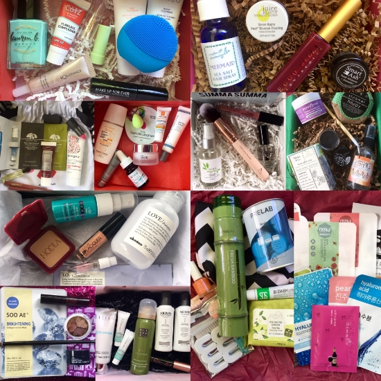 Top row, left to right: Allure Beauty Box, Petit Vour; second row, left to right:  Play! by Sephora, DermStore BeatyFix, LaRitzy Box, Terra Bella Box; third row, left to right:  Birchbox, Beauteque BB Bag, Beauteque Mask Maven; bottom row, left to right:  ipsy, Glossybox.