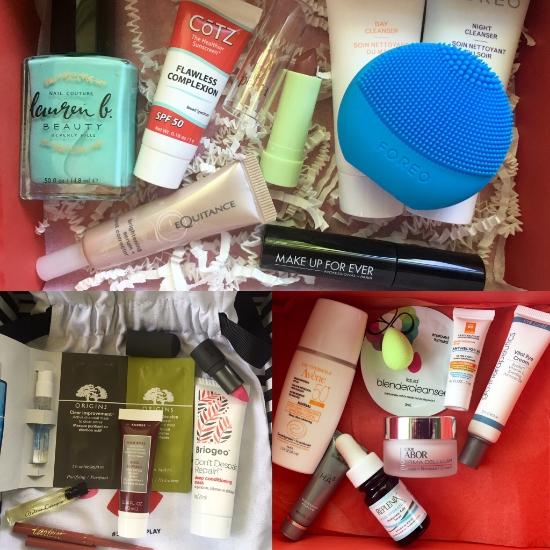 Top: Allure Beauty Box; bottom left: Play! by Sephora; bottom right: DermStore BeautyFix.