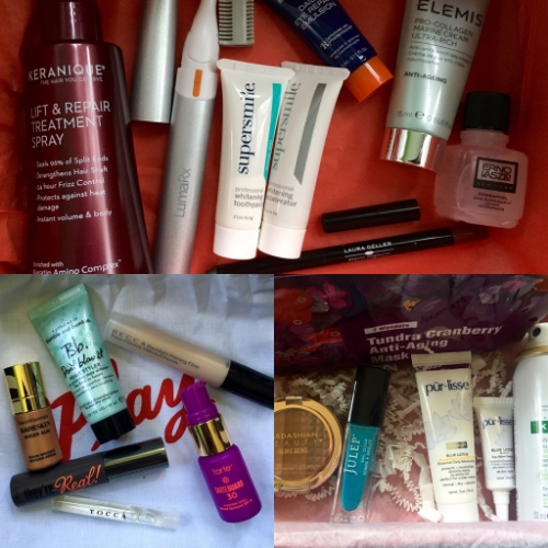 Top: DermStore BeautyFix; bottom right: Allure Beauty Box; bottom left: Play! by Sephora