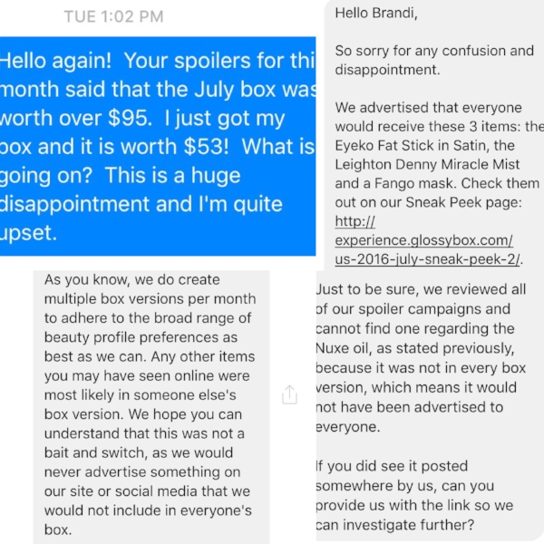 Top left, my Facebook message to Glossybox. Top right: Part 1 of Glossybox's response to me, received 07/20/16 at 9:33 a.m., bottom left: Part 2 of Glossybox's response, bottom right: Part 3 of Glossybox's response.