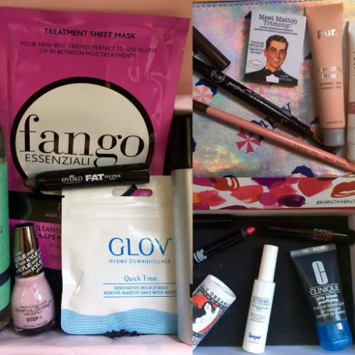 Left:  July Glossybox; top right:  July ipsy Glam Bag; bottom right:  July Birchbox.