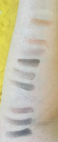 Pure Cosmetics Nude Collection Eyeshadow Palette swatches, top to bottom: Butterscotch, Caramel, Macadamia, Toffee, Cocoa, Hazelnut, Macaroon, Kahlua, Whipped, Biscotti, Espresso, Licorice.