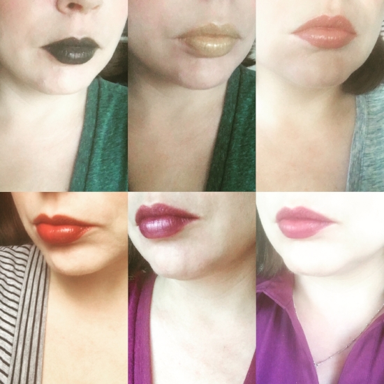 OCC Lip Tar, top, left to right:  Blackboard, Alchemy, Dash; bottom, left to right:  Fleshworld, Luxe, Lush.