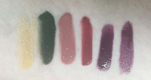 OCC Lip Tar, left to right:  Alchemy, Blackboard, Dash, Fleshworld, Lush, Luxe