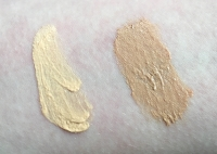 Swatches of Devita Moisture Tints in Light (left) and Medium (right)