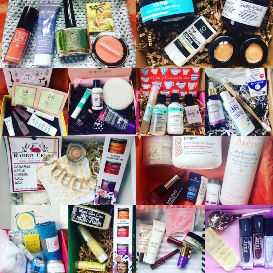 Top row, left to right: ipsy, Goodbeing. 2nd row, left to right; Birchbox, Glossybox, Petit Vour, Kloverbox. 3rd row, left to right: Mommy Mailbox, DermStore BeautyFix. Bottom row, left to right: PopSugar Must Have, Terra Bella Box, Play! by Sephora, Julep.