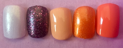 Swatches of Julep Nail Color, left to right: Lara, Rosie, Nayely, Pam, Jenna.