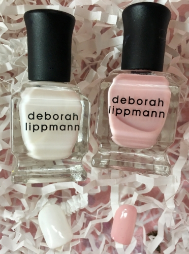 Swatches of Deborah Lippman Like a Virgin (left) and Shape of My Heart (right)