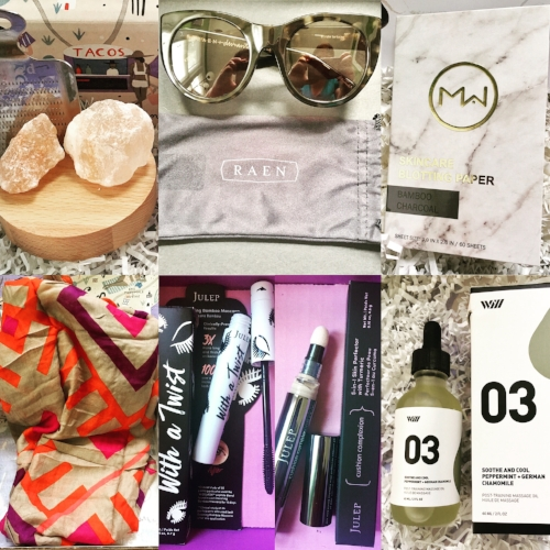Top, left to right:  Salted Himalayan Pink Salt Kit from FabFitFun, RAEN Durante Sunglasses in Tortoiseshell from The Zoe Report Box of Style, Mai Couture Skincare Blotting Paper in Bamboo Charcoal from Petit Vour.  Bottom, left to right: Michael Stars Convertible Ruana in Tile Inspired Print from FabFitFun, Julep With a Twist Mascara from Julep, Julep Cushion Complexion 3-in-1 Skin Perfector with Turmeric from Julep, Way of Will Soothe and Cool Peppermint and German Chamomile from FabFitFun.