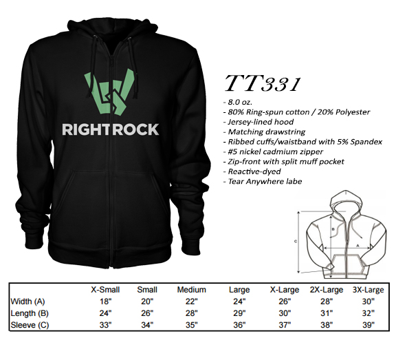Our TT331 full zip hoodie is the perfect weight hoodie and is very comfortable!