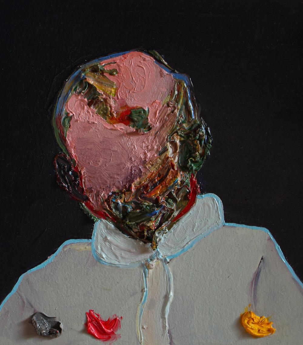 Francesco, oil on canvas, 6 x 6.5 in., 2017