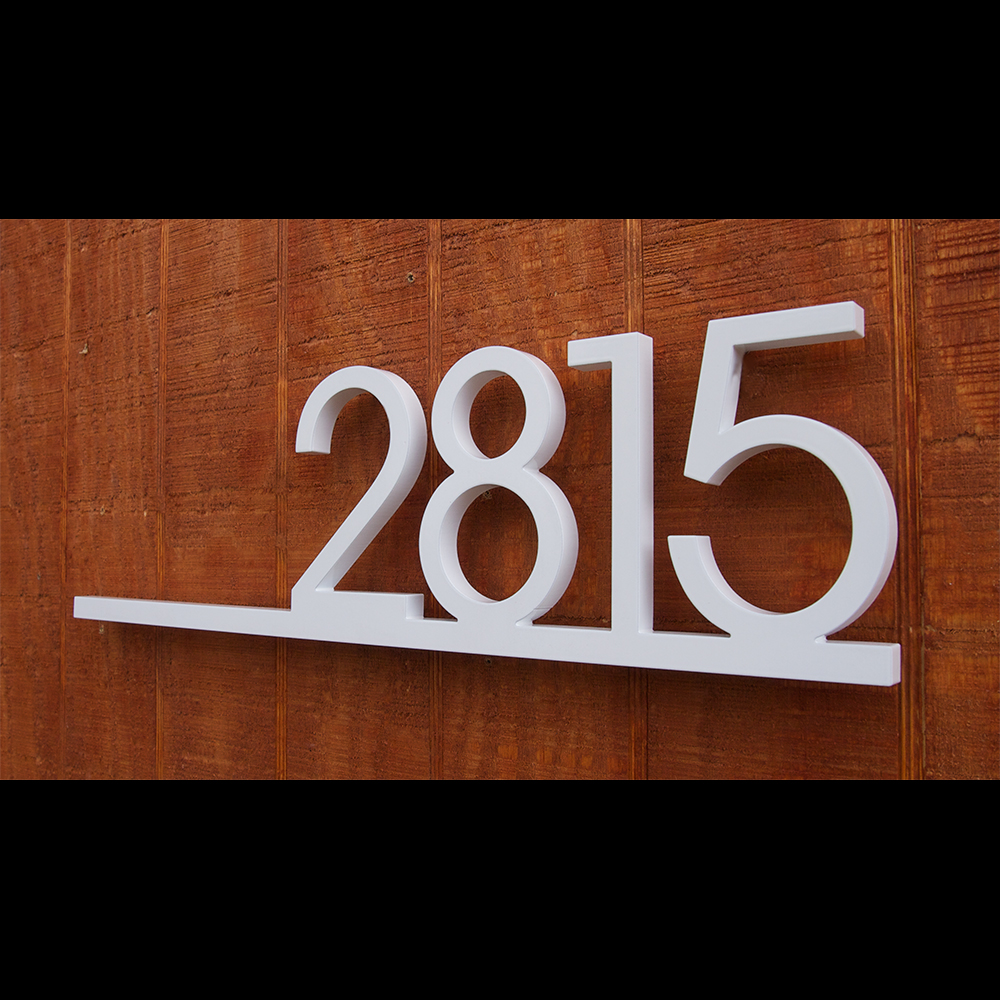 Custom minimalist underline house number sign in powder for House sign designs