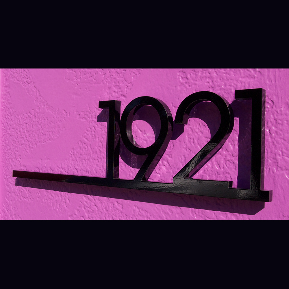 custom minimalist underline house number sign in powder
