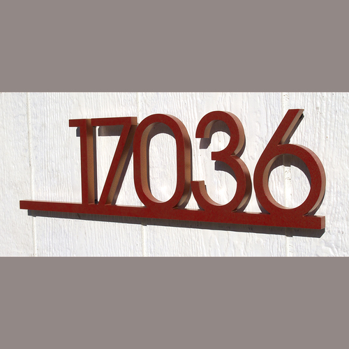 Custom Minimalist Underline House Number Sign In Powder Coated
