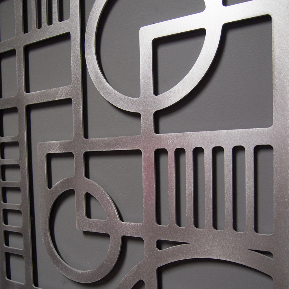 Deco panel no 2 23 x 46 in brushed aluminum wall for Wall and deco showroom milano