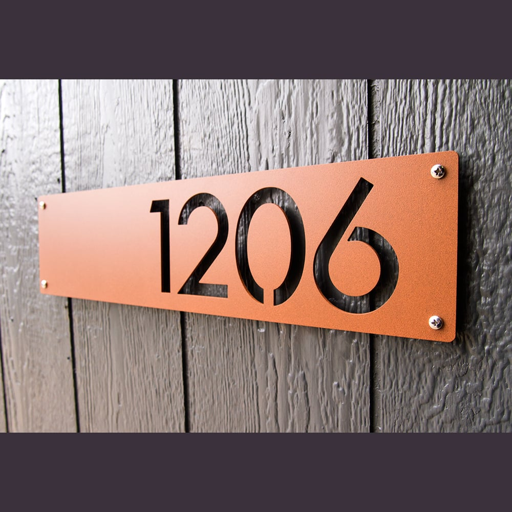 Custom modern house numbers horizontal offset in powder coated aluminum