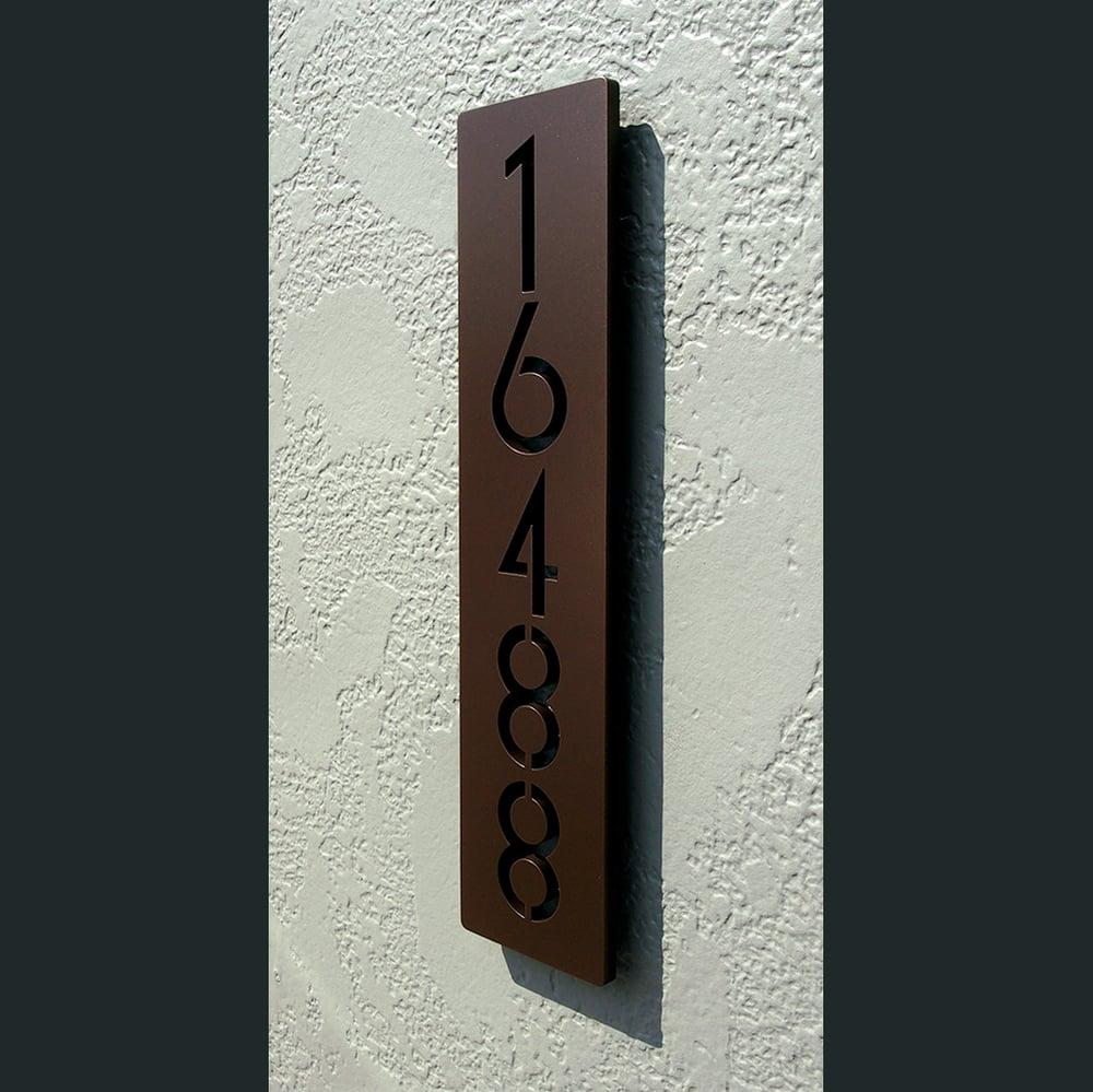 Custom Euro Floating House Numbers Vertical in Powder Coated