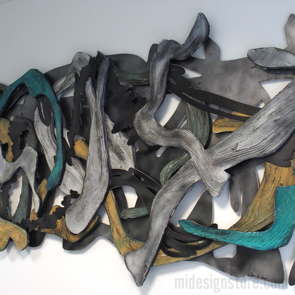 Painted wood and aluminum wall sculpture by Lucia Bennett