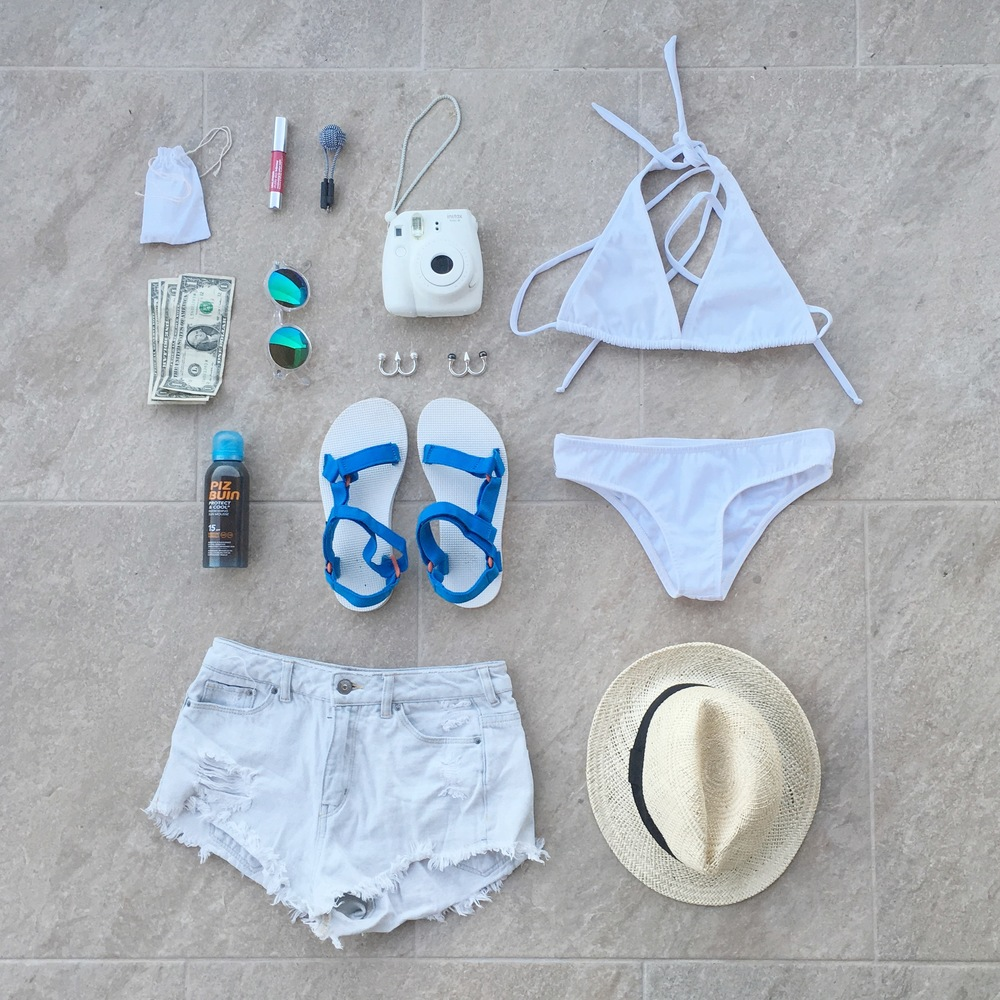 Costa Rica Essentials:  Clinique  Chubby Stick,  Antipearle  rings,  H&M   x Coachella  sunglasses,  Instax ,  Piz Buin  Protect and Cool,   Teva   sandals,  H&M  shorts,  Morena Beachwear  swimsuit,  GAP  hat.