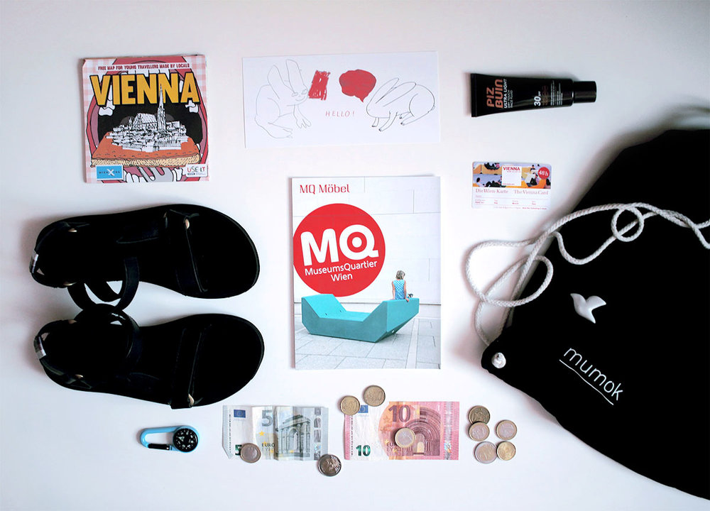 Use-It map,Tevasandals,MQbrochure, a few euros, Piz Buin sunscreen (protect yourself!), The Vienna Card, backpack from mumokand a lovely seagull brooch by Dita P.