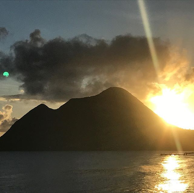 "B-Bag in Martinique. View at the head of ""La Femme Couchée"", the famous mountain at night, with a green moon. #martinique #holidays #bikini #resorts #swimming #sunshine#resort#relaxingtime #bags #sunset #romantic"