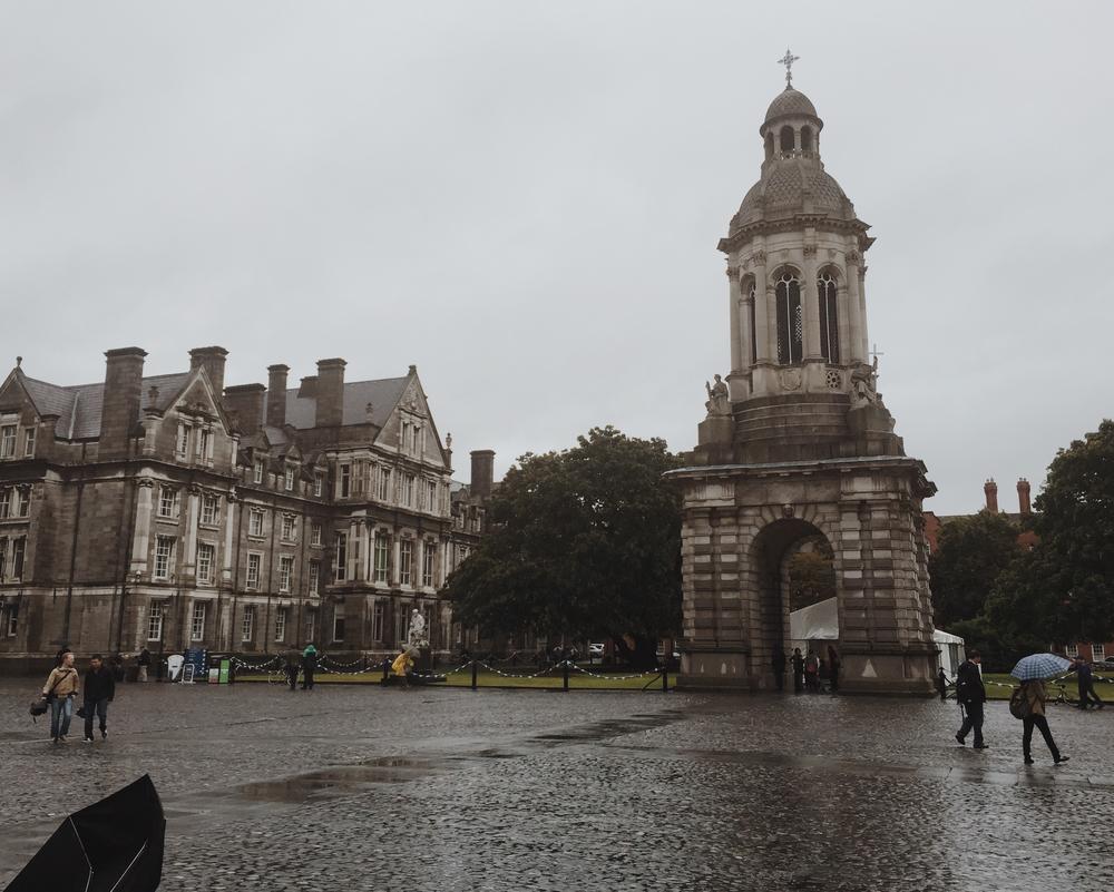 Rainy square at Trinity College