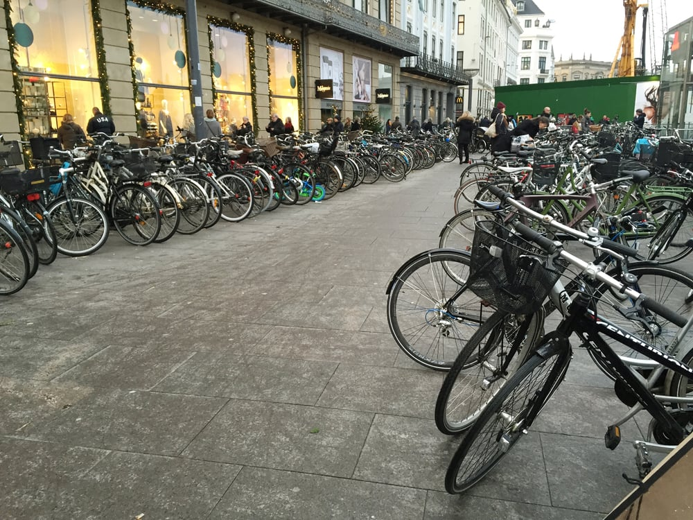 This is the parking lot for bikes at Magasin in central Copenhagen