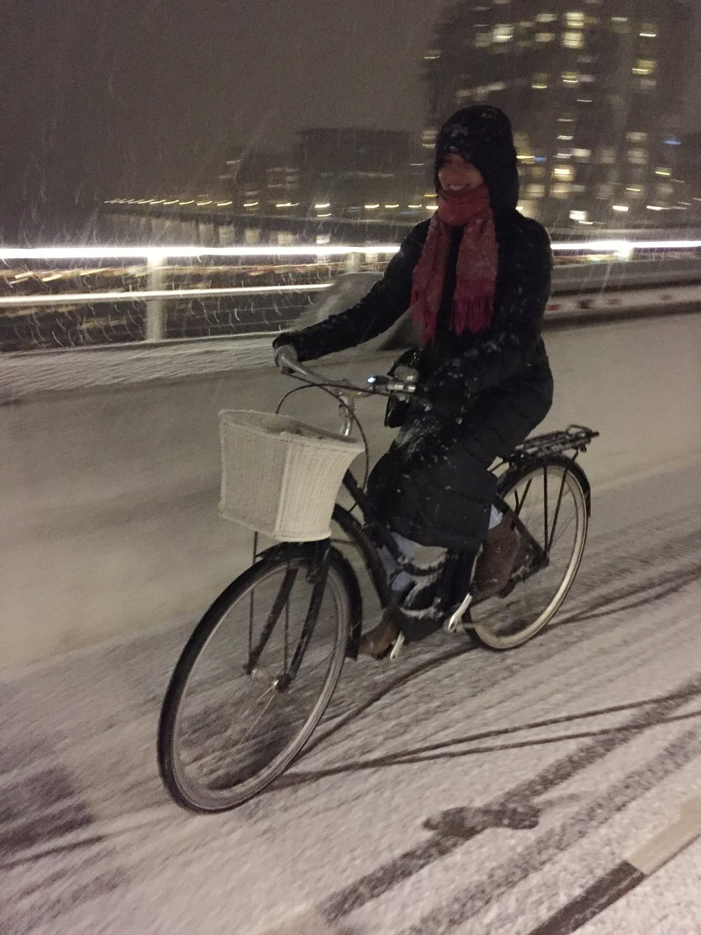 Biking in the snow at night with my sleeping bag coat
