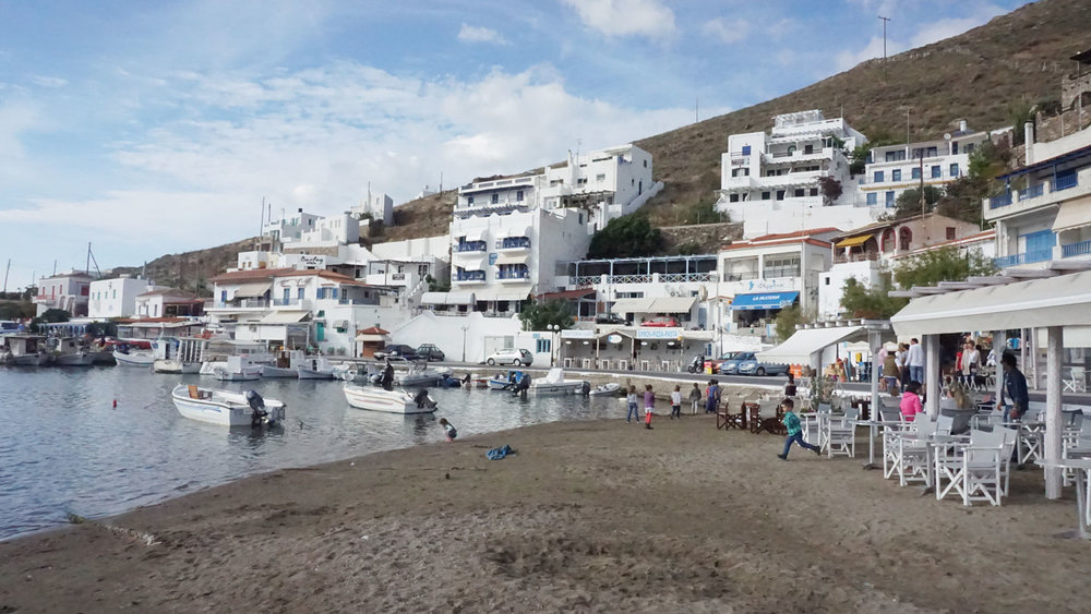 The harbor at Kythnos, Greece - a typical small port town