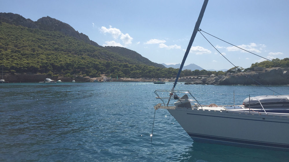 We anchored in this relatively secluded bay, dove in, and swam to shore—incredible!