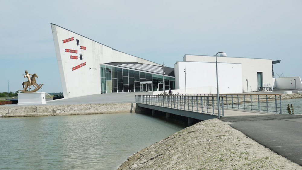 The exterior of the Arken museum, with a nautical theme