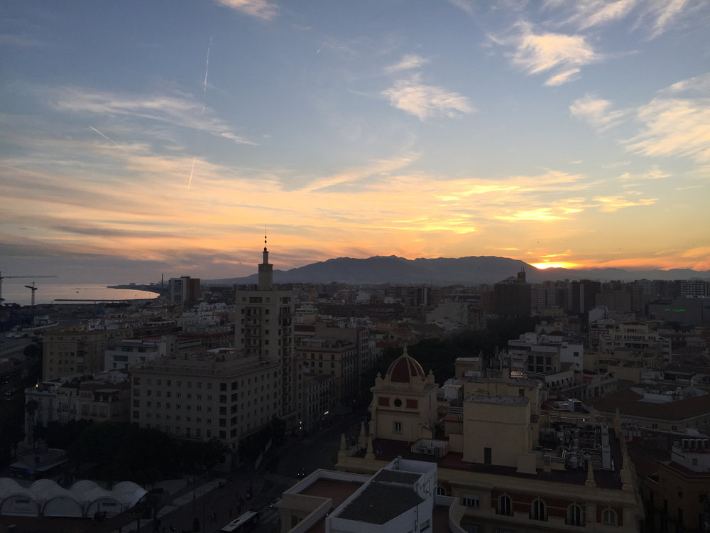 Sunset from a rooftop bar, Malaga, Spain, November