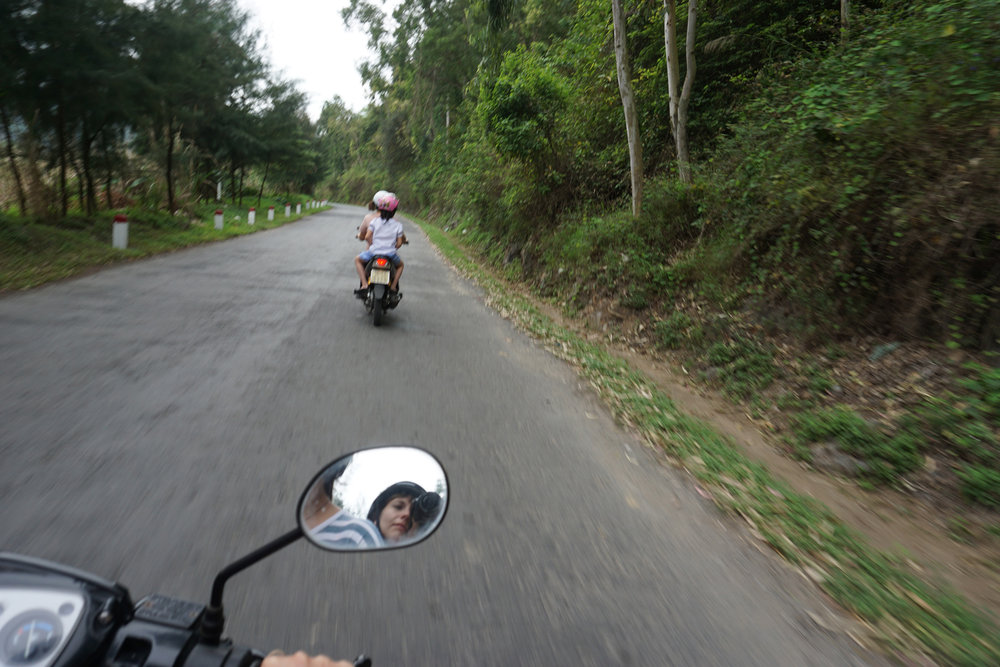 Riding motorbikes, Cat Ba Island, Vietnam