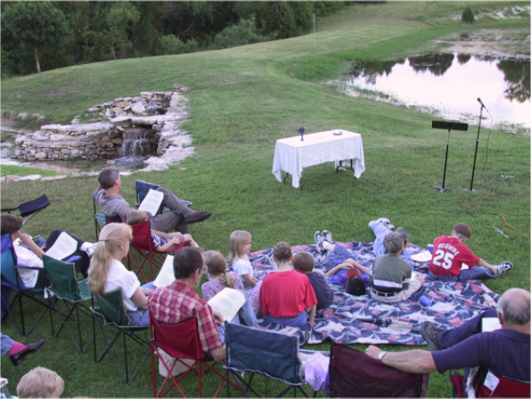 Outdoor communion services in the early years.