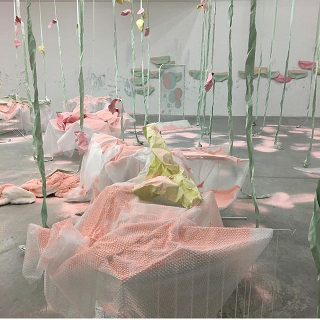 Tomorrow is the last day to see #karlablack's solo exhibition at @thepowerplantto. Love how she uses traditional pigments and paints, but also mines her makeup bag, using cosmetics like eyeshadow, hairspray, nail polish and lipstick in her installations.