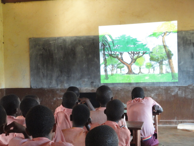 Students watching an Environmental Education video