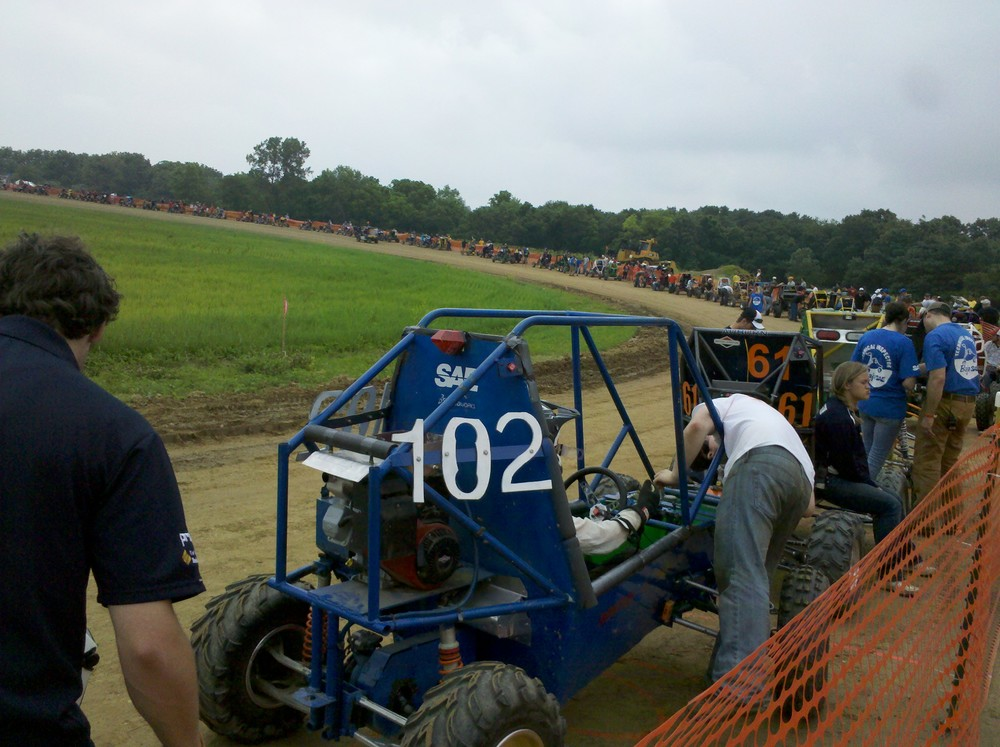On line for the track