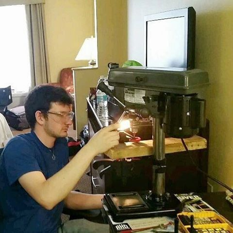 #tbt to when we had to buy a mini Harbor Freight drill press and use it in the hotel room