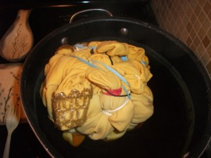 Bath of yellow dye...